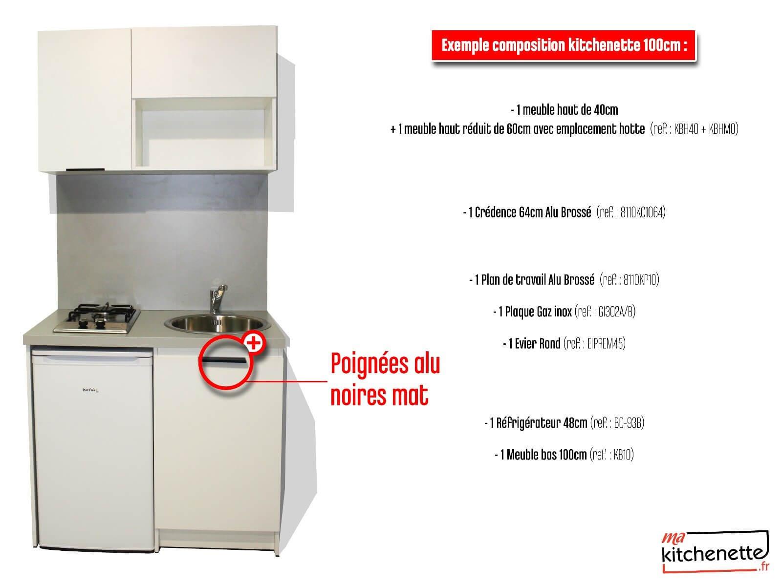 Plan De Travail 1M De Largeur kitchenette blanche 100cm