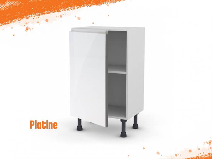 Meuble bas platine 50 cm (Faible profondeur) + façade 1 PORTE