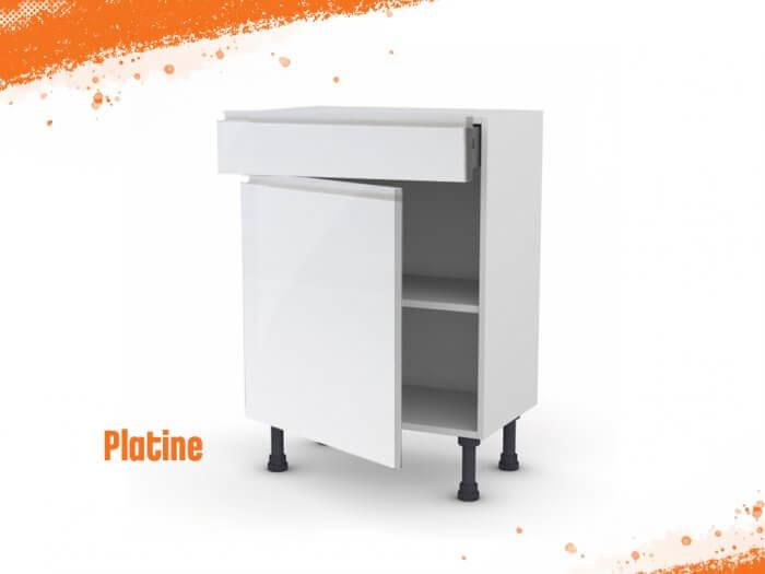 Meuble bas platine 60 cm (Faible profondeur) + façade 1 PORTE / 1 TIROIR